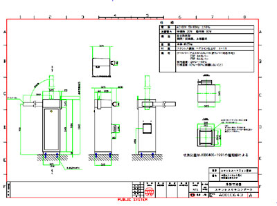ステンレスヘアライン加工ゲート筐体の開発図面